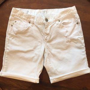 LOFT white denim shorts